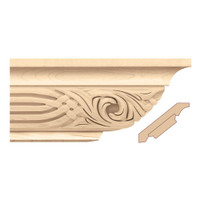 "MLD7060RO_4 1/2"" Crown Moulding w/ Nouveau Insert Red Oak"