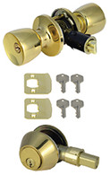 Mobile Home Entry Door Combo Lockset Door Knob and Dead Bolt Polished Brass Keyed Alike
