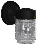 black metal porch light with jelly jar style globe