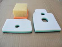 Air Filter Kit for Wacker BTS930, BTS930 L3, BTS935, BTS935 L3, BTS1030, BTS1030 L3, BTS1035, BTS1035 L3 Cut Off Saw, 0108076, 0108077, 0159441, Includes Foam Pre Cleaner