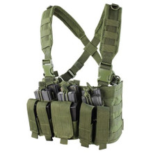 Condor MCR5 MOLLE 5.56 .223 Mag Pouch Rapid Assault Chest Rig Vest- OD Green/ Black/ Tan