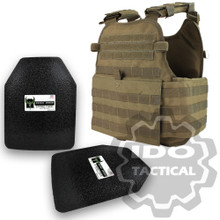 "Condor MOPC Molle Operator Plate Carrier (Tan) + Pair of AR500 Armor® Level III 10"" x 12"" Curved ASC plates"