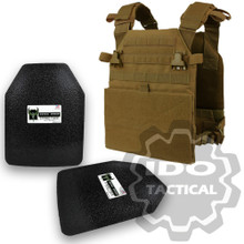 "Condor Vanquish Plate Carrier (Coyote Brown) + Pair of AR500 Armor® Level III 10"" x 12"" Curved ASC plates"