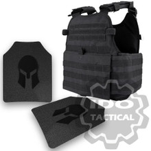 Condor MOPC Molle Operator Plate Carrier (Black) + Pair of Spartan Armor Systems AR500 Omega 10x12 Armor Plate (Shooters Cut)