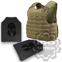 Condor Quick Release Plate Carrier (Tan) + Pair of Spartan Armor Systems AR500 Omega 10x12 Armor Plate (Shooters Cut)