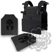 Condor Vanquish Plate Carrier (Black) +  Pair of Spartan Armor Systems AR500 Omega 10x12 Armor Plate (Shooters Cut)