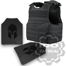 Condor XPCL EXO Molle Infantry Operator Plate Carrier (Black) + Pair of Spartan Armor Systems AR500 Omega 10x12 Armor Plate (Shooters Cut)