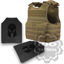 Condor XPCL EXO Molle Infantry Operator Plate Carrier (Tan) + Pair of Spartan Armor Systems AR500 Omega 10x12 Armor Plate (Shooters Cut)