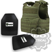 "Condor XPCL EXO Molle Infantry Operator Plate Carrier (OD Green) + Pair of AR500 Armor® Level III 10"" x 12"" Curved ASC plates"