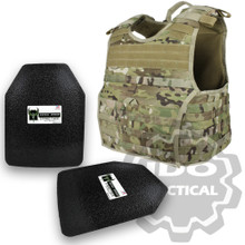"Condor 201165-008-L EXO Molle Infantry Operator Plate Carrier (Multicam) + Pair of AR500 Armor® Level III 10"" x 12"" Curved ASC plates"