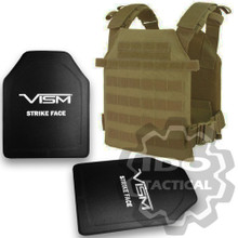 "Condor Sentry Plate Carrier (Tan) + VISM® Hard Ballistic Armor Panel Level III (UHMWPE) 10""X12"" Shooters Cut / Single Curve"