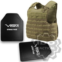 "Condor Quick Release Plate Carrier (Tan) + VISM® Hard Ballistic Armor Panel Level III (UHMWPE) 10""X12"" Shooters Cut / Single Curve"