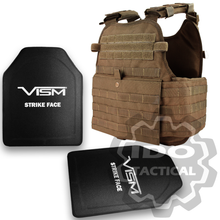 "Condor MOPC Molle Operator Plate Carrier (Coyote Brown) + VISM® Hard Ballistic Armor Panel Level III (UHMWPE) 10""X12"" Shooters Cut / Single Curve"