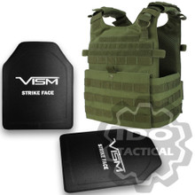 "Condor 201039 Gunner Lightweight Plate Carrier (OD Green) + VISM® Hard Ballistic Armor Panel Level III (UHMWPE) 10""X12"" Shooters Cut / Single Curve"