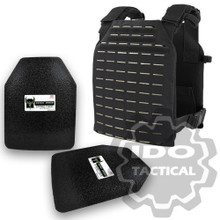 "Condor LCS (Laser Cut System) Sentry Plate Carrier Black + Pair of AR500 Armor® Level III 10"" x 12"" Curved ASC plates"
