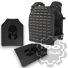 Condor LCS (Laser Cut System) Sentry Plate Carrier Black + Pair of Spartan Armor Systems AR500 Omega 10x12 Armor Plate (Shooters Cut)