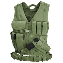 Condor CV Military Cross Draw Tactical Chest Rig Vest w/ Holster Pouch- OD Green/ Black/ Tan