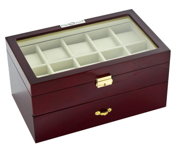 Watch Winder | Diplomat Twenty Watch Case With Cream Leatherette Interior and Locking Lid