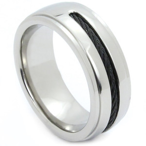 Tungsten Band - Black Twirl Inlay