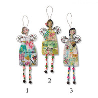 "Hanging Garden Angels  Materials: pine wood, iron Measurements: tallest 8""h Seasonality: Everyday Hanger style: wire"