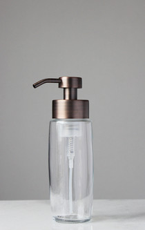 Large Glass Foaming Soap Dispenser with Copper Pump