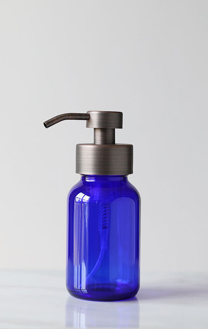 Blue Apothecary Glass Foaming Soap Dispenser with Bronze Pump