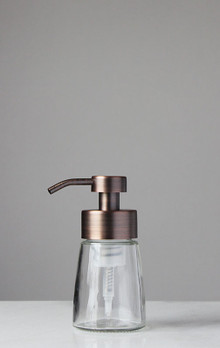 Small Glass Foam Soap Dispenser with Copper Pump