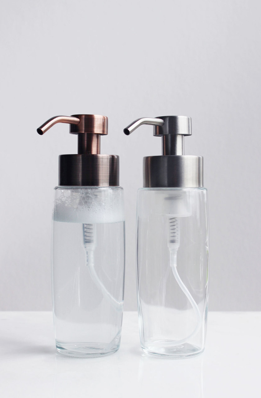 large glass foam soap dispenser with stainless pump add to cart - Foam Soap Dispenser