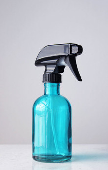 Beach Blue Glass Spray Bottle w/ Black Spray Nozzle