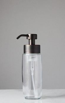 Large Glass Foam Soap Dispenser with Bronze Pump