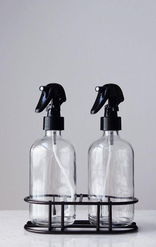 glass misting spray bottles apothecary glass mist spray bottle set with black mist nozzle stand rail19