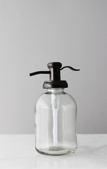 Bell Glass Soap Dispenser with Antique Bronze Pump