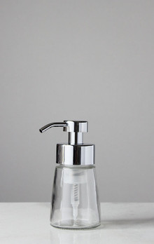 Small Glass Foam Soap Dispenser with Chrome Pump