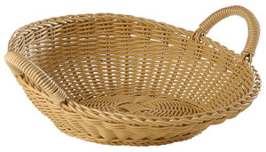 Buffet Basket, Round with Handles, Polyrattan, 16 1/2""
