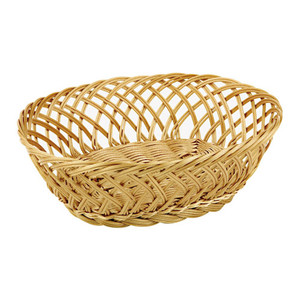 Oval Polyrattan Bread Basket - 10 5/8 by 7 7/8, L 10.625 x W 7.875 x H 4