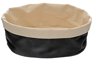 Oval Canvas Bread Basket, Black, 9 7/8 x 7 1/8