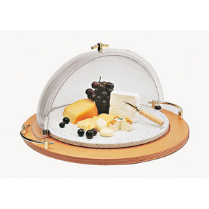21 5/8 Rotating Display Plate - 3-Piece Set (wood base, cover and platter), L 21.625 x W 21.625 x H 11.875