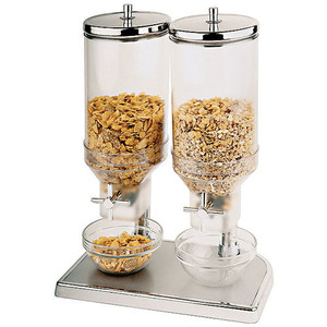 4.7 Quart Polypropylene Cereal Dispenser Duo with S/S Lids, L 8.625 x W 6.875 x H 20.5