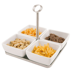 4 Melamine Bowl and Tray Set with Handle, L 6.75 x W 6.75 x H 6.25