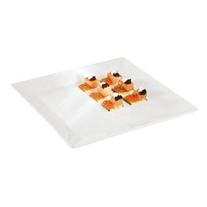 8 3/8 Square White Melamine Platter, L 8.375 x W 8.375 x H 0.5