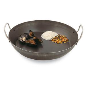 """Black Steel Paella Pan, DIA 12 1/2"""" X H 2 1/4"""""""