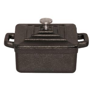"Black Square Dutch Oven W/Lid, 3 3/4"" X H 1 3/4"""
