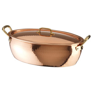 Oval Vegetable Pan Copper/Tin, Tall