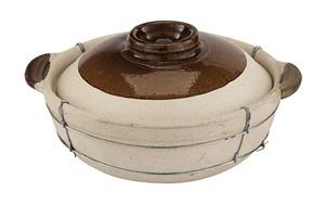 2 Quart Dual-handled  Clay Cooking Pot, L 11 x W 11 x H 6.25