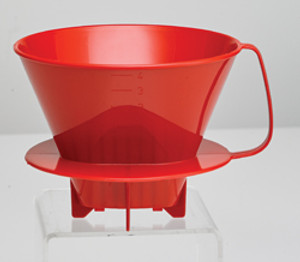 HIC Coffee Filter Cone, Red, 4 Cup