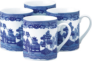 HIC Blue Willow Mug Set, 10oz