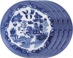 HIC Blue Willow Dinner Plate Set, 10.5in