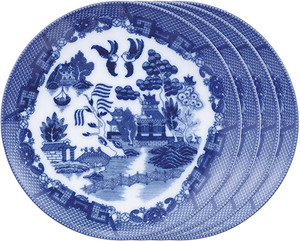 HIC Blue Willow Dessert Plate Set, 7.75in