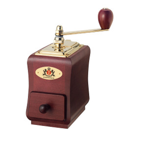 "Coffee Mill ""Santiago"", mahogany stained beechwood, 3.5"" x 5.5"" x 7.8"""