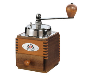 "Coffee Mill ""Montevideo"", walnut/pear wood, 4"" x 4"" x 7.3"""